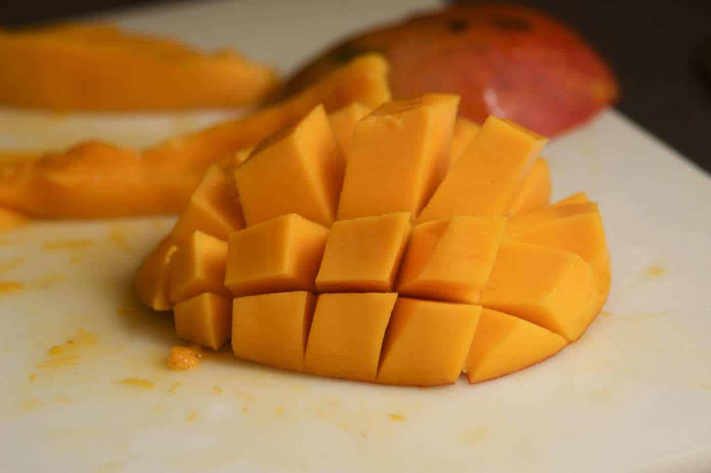mango cut and fanned out