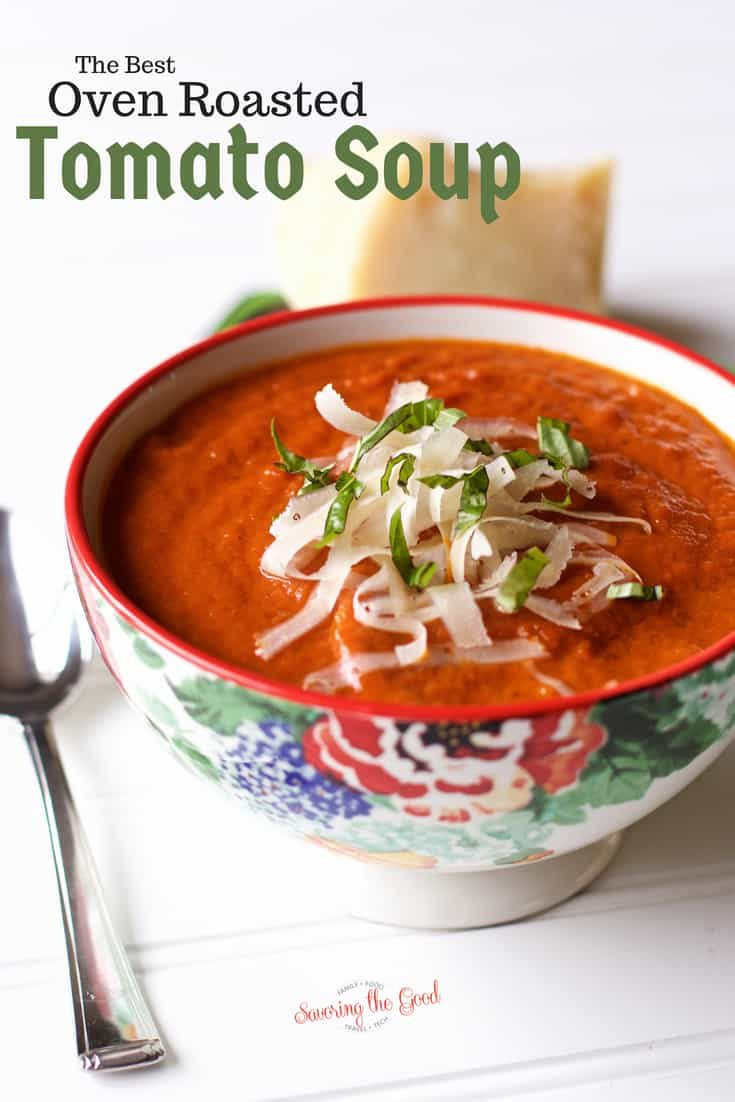 If you ever wanted to learn to make homemade tomato soup you need to make my recipe for homemade oven roasted tomato soup. This has been called the best roasted tomato soup. This easy tomato soup recipe features garden fresh tomatoes, onions, garlic, chicken stock and then garnished with fresh basil and a drizzle of heavy cream. #soup #tomatosoup #comfortfood #roastedtomatoes #bestsoup #summersoup #fallfavorite