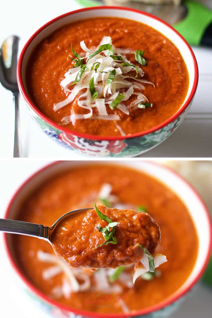 The best oven roasted tomato soup with close up of a spoon with soup