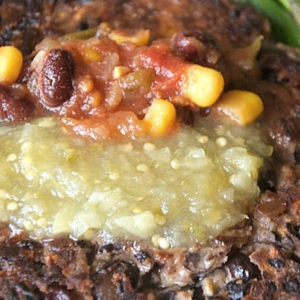 close up of a Black Bean Burger
