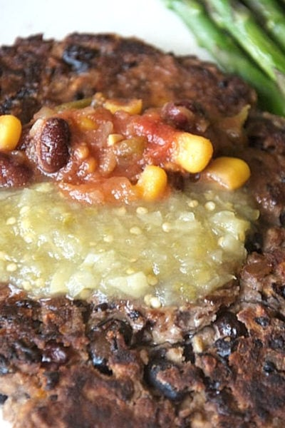 close up of a Black Bean Burger