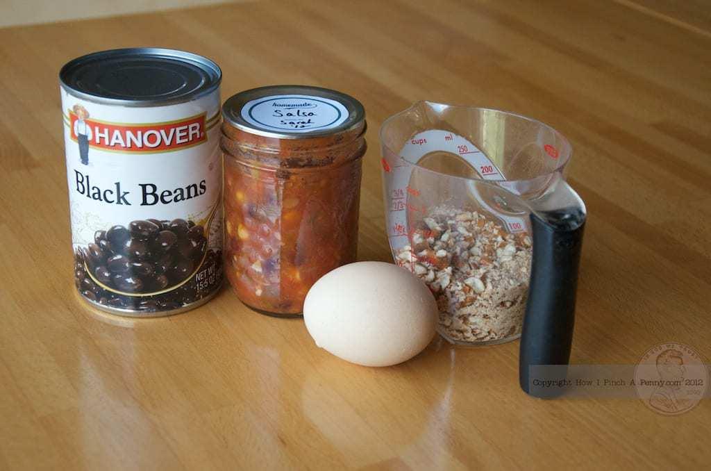black bean ingredients beans salsa egg pretzels