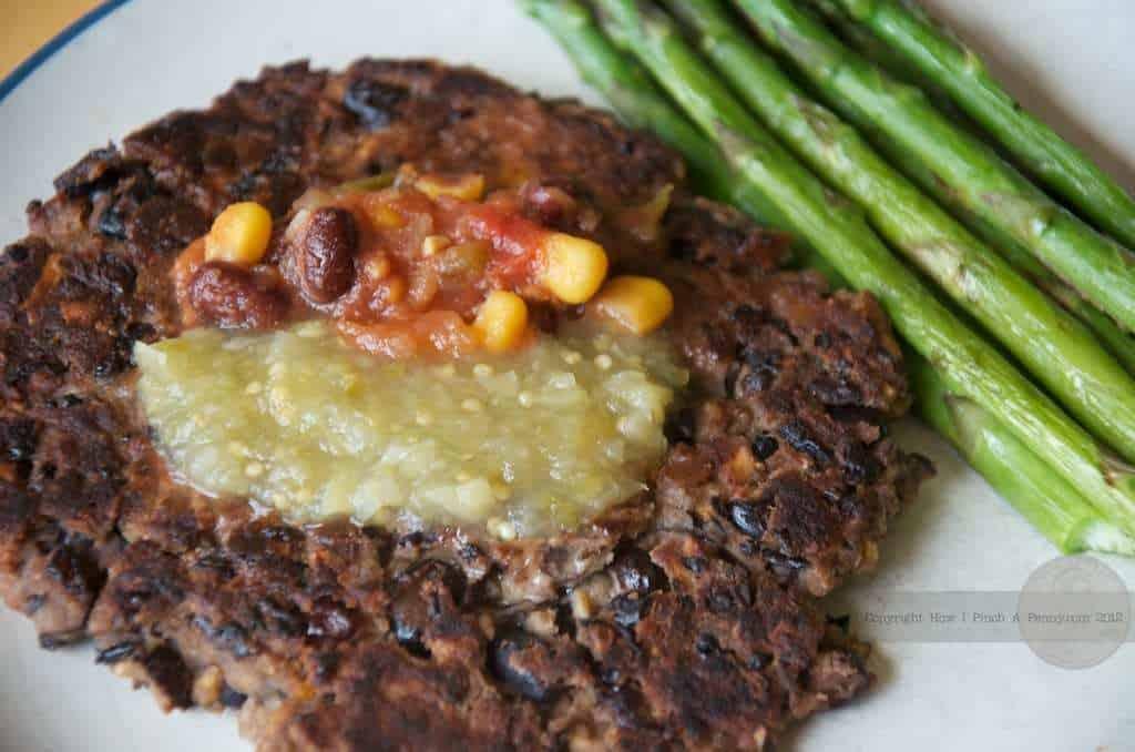 black bean burger patty on a plate