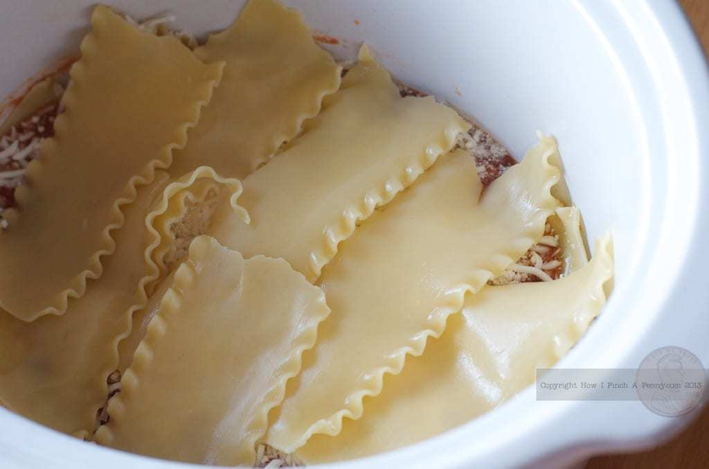 layers of noodle for Crockpot Lasagna