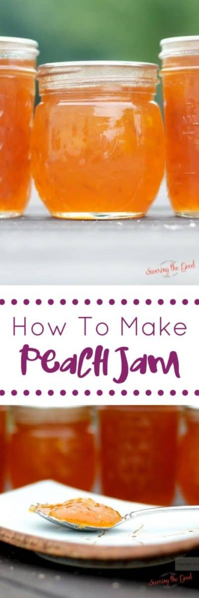 Here are easy instructions on how to make peach jam as well as how to water bath can peach jam. Watch the video instructions on how to make homemade peach jam and you will have a delicious way to enjoy summer fresh peaches all year long. This is an easy recipe for making peach jam. #peaches #peachjam #canning #canningjam