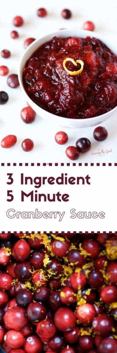 The easiest cranberry sauce can be made in 5 minutes with 3 ingredients. A delicious side dish to any Thanksgiving meal.