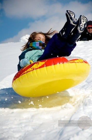 Action snow tubing shots
