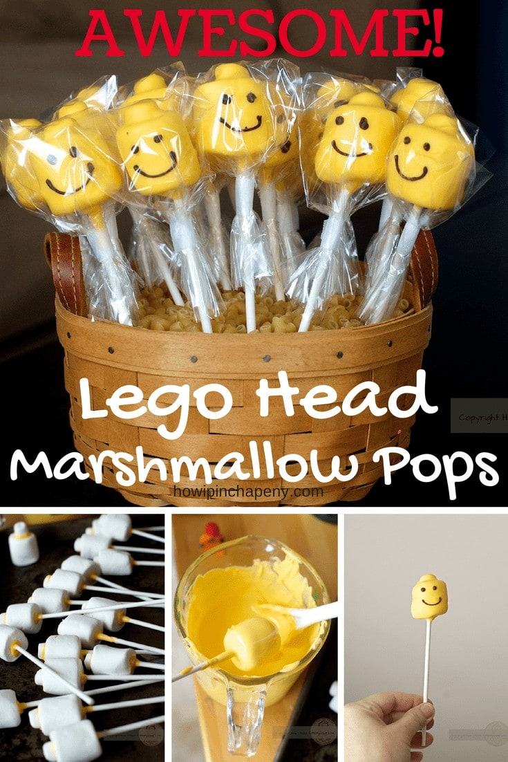 Lego Head Marshmallow Pops with step my step instructions