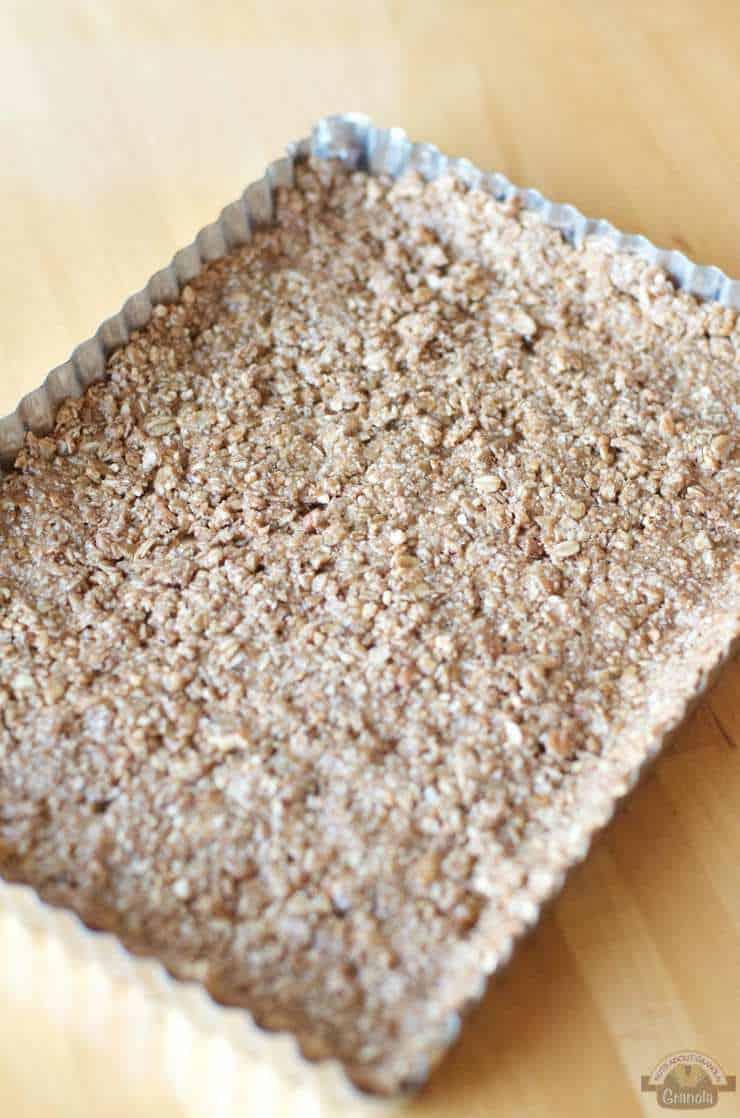 Press the Plain Jane Granola crust mixture into a tart pan with a ...