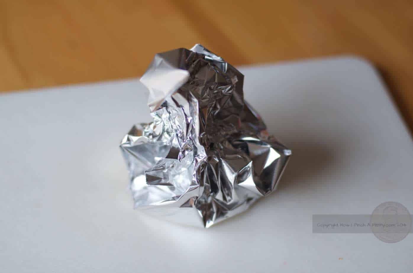 foil with a garlic bulb inside