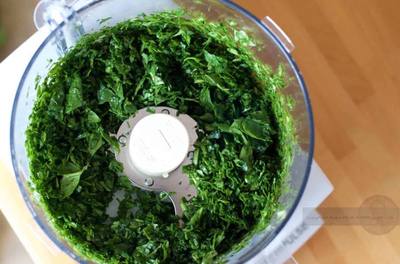 chopped spinach in food processor