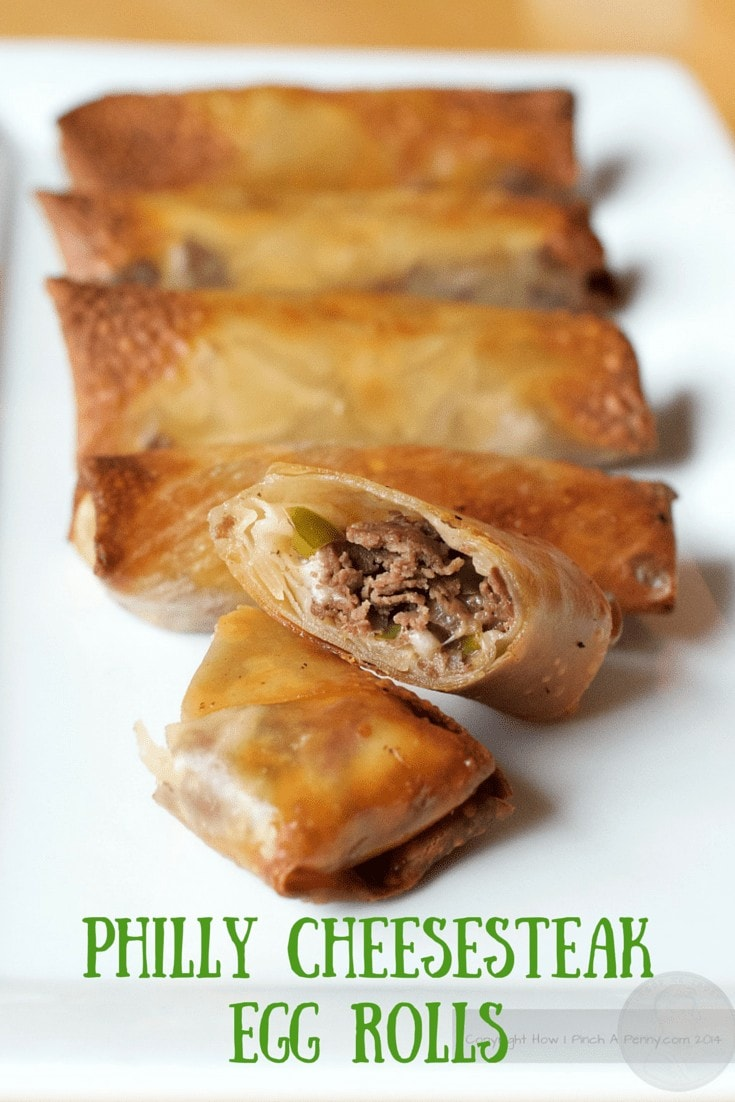 Philly Cheesesteak Egg Rolls. This is a great recipe for football game day or movie night. Sliced steak, peppers, onions and cheese all in an egg roll wrapper fry up crisp in an air fryer. Or pull out your deep fryer if you have one. Philly Cheesesteak Egg Rolls are a favorite in our house.