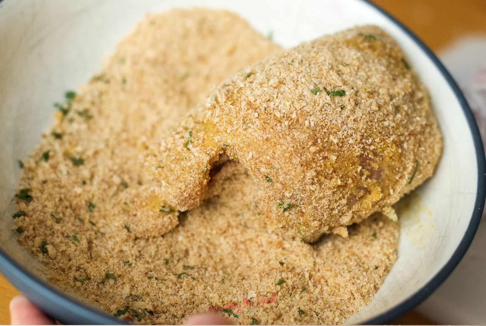 bread crumb dredged chicken cordon bleu