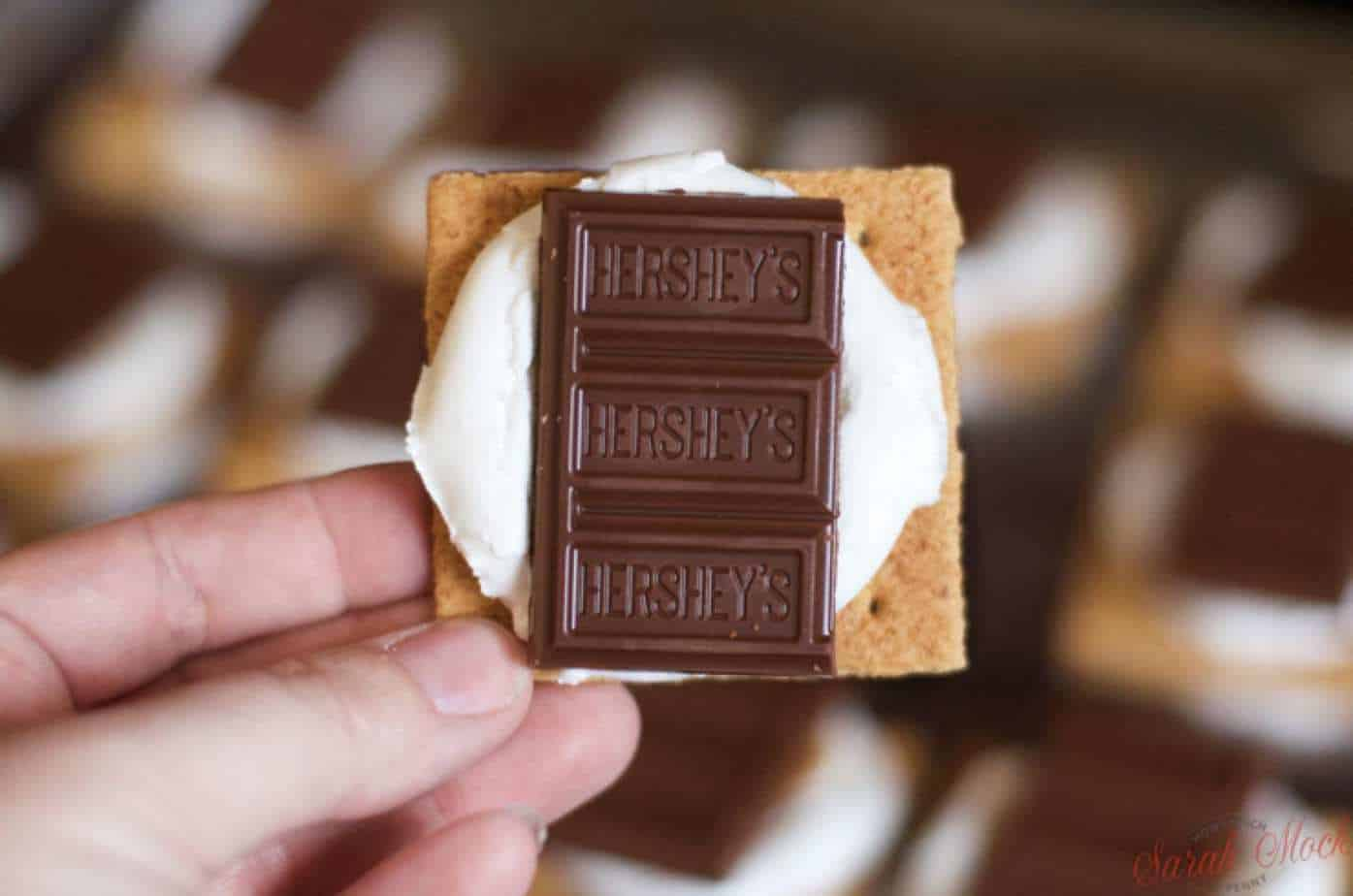 3 pips of Hershey chocolate pressed into a melted marshmallow and graham crackers