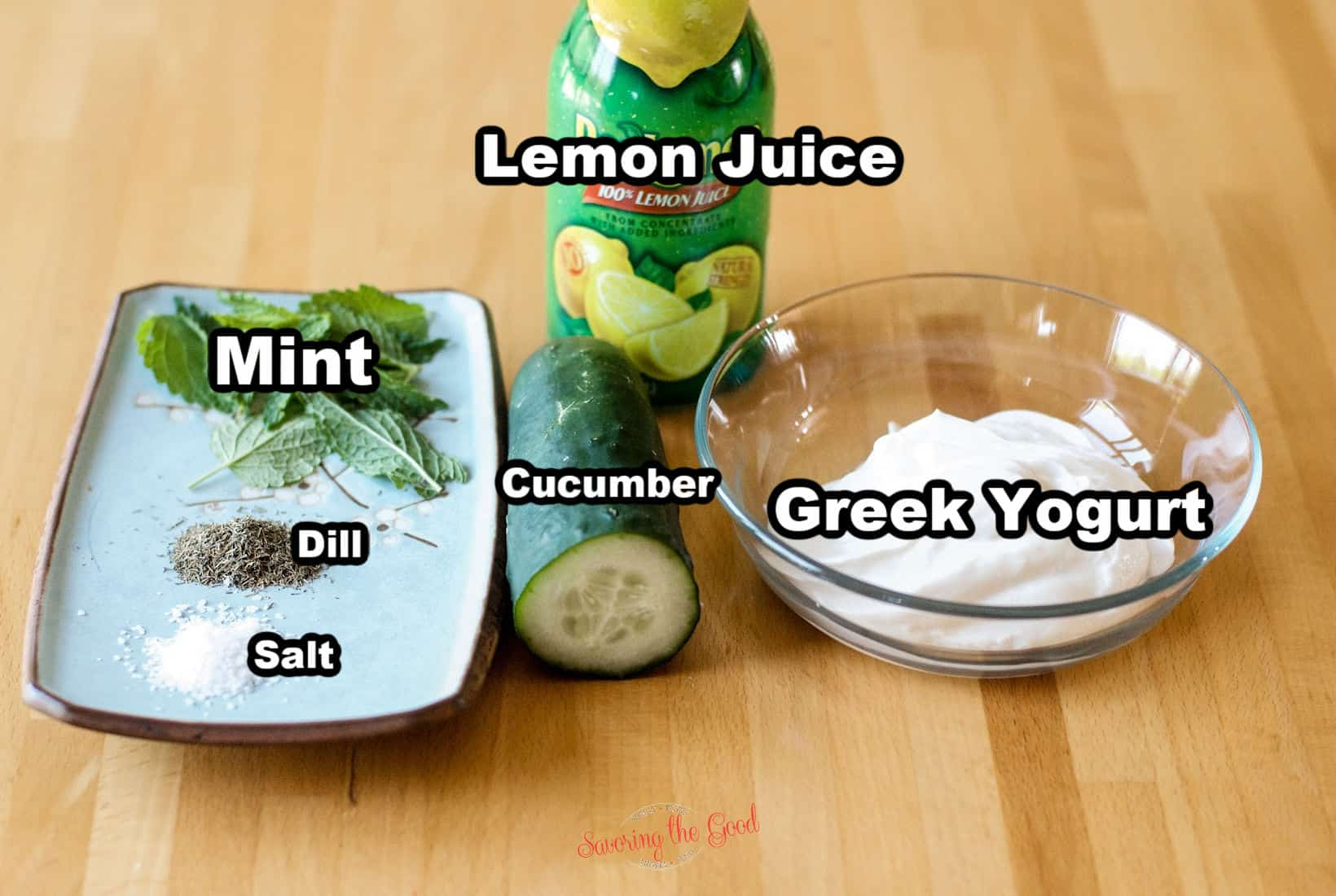 Tzatziki Sauce ingredients with text overlays