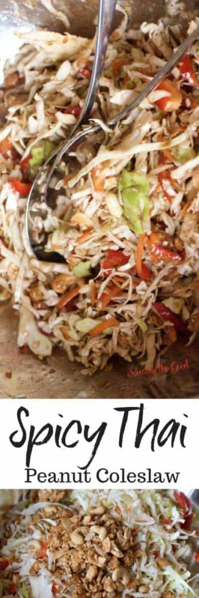 If you love spicy, crunchy, nutty, delicious side dishes, this recipe for Thai coleslaw is for you! This spicy Thai coleslaw is not only delicious but is gluten free, GMO free and vegan. Use the Thai coleslaw dressing on other salads if your choose. This might be the best Thai coleslaw recipe. #coleslaw #thaicoleslaw #sidedish