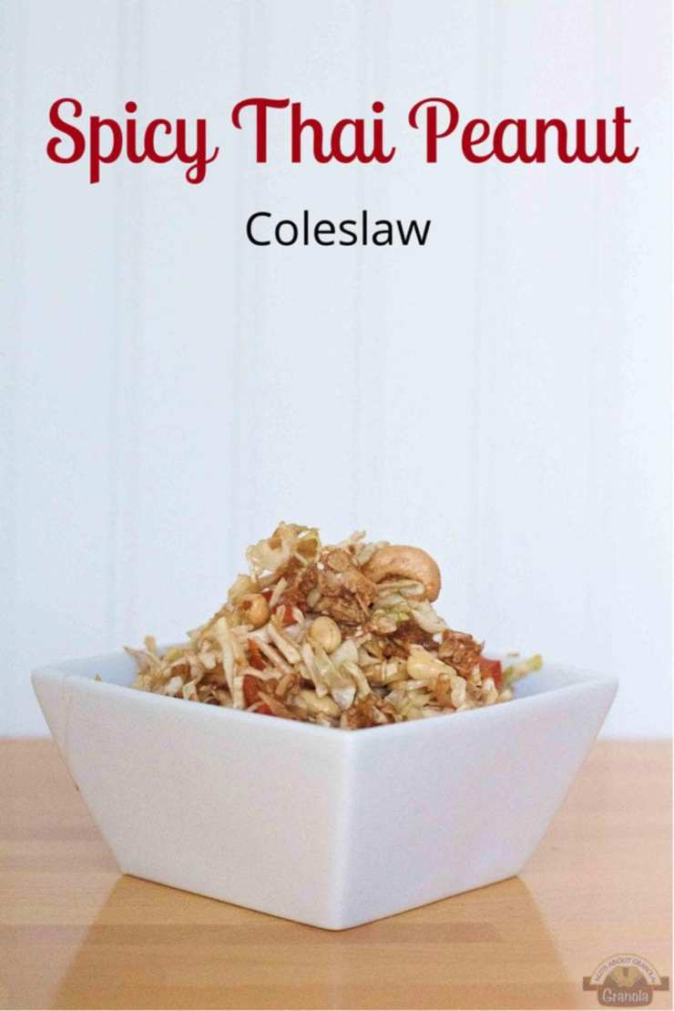 If you love spicy, crunchy, nutty, delicious side dishes, this recipe for Thai coleslaw is for you! This spicy Thai coleslaw is not only delicious but is gluten free, GMO free and vegan. Use the Thai coleslaw dressing on other salads if your choose. This might be the best Thai coleslaw recipe.