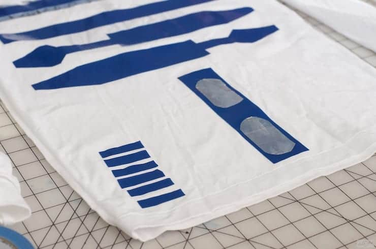 R2D2 Costume on a cutting mat