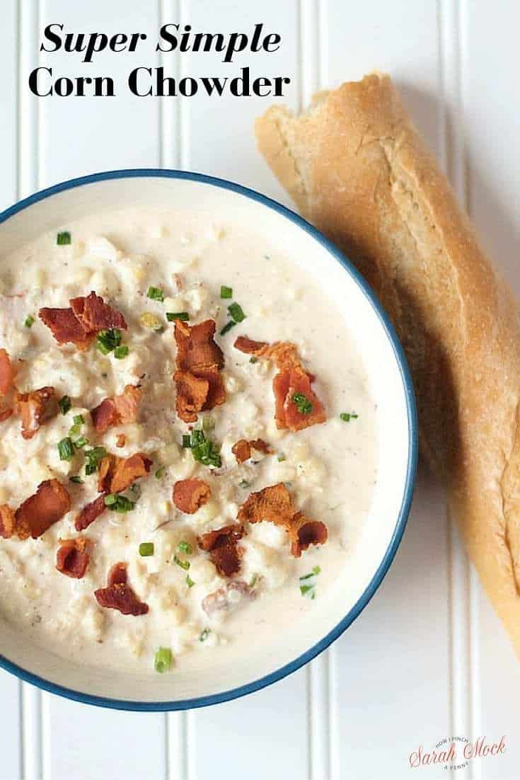 Super Simple Home Made Corn Chowder This recipe comes together fast enough for a busy school night but tastes like you spent hours in the kitchen. #CornChowder