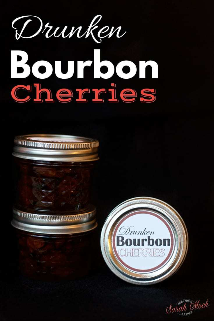 bourbon cherries in mason jars with custom label.