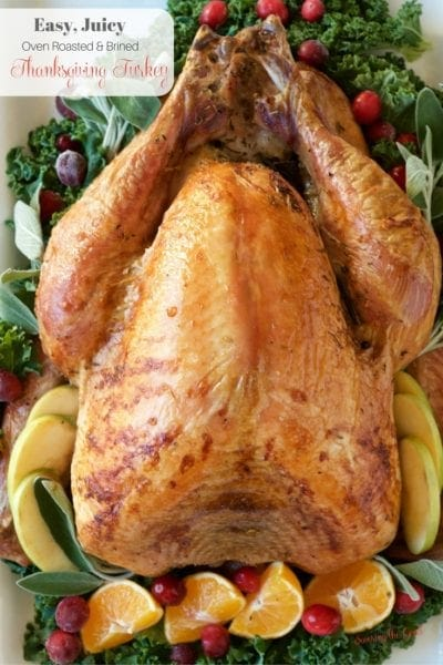 Easy Juicy Oven Roasted Brined Thanksgiving Turkey Recipe. Let me walk you through, step by step on how to thaw, brine and roast a delicious Thanksgiving turkey. Once you learn these few easy steps, you will be all set to create delicious Thanksgiving memories around the table.