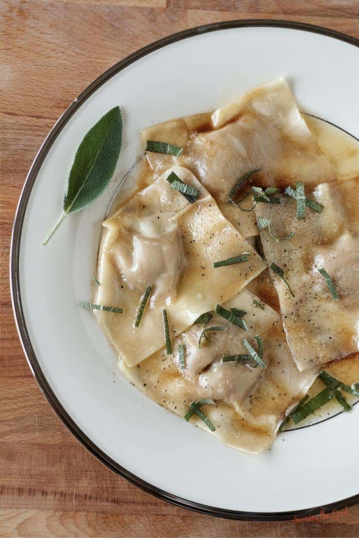 A delicious, creative way to use up leftover pumpkin pie is to make homemade pumpkin ravioli. I love it with a brown butter sauce and sage. Easy to do and take help from Wonton wrappers in place home homemade pasta sheets.