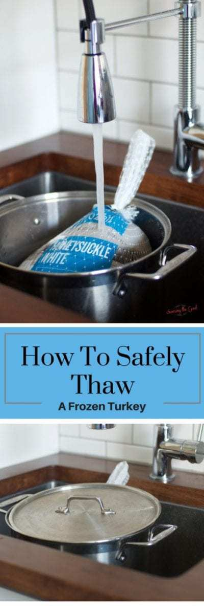 Here are my simple tips on how to easily thaw your Thanksgiving turkey using the cold water method. It is very important to safely thaw a frozen turkey. Nothing will make a Thanksgiving meal take a turn for the worse than a turkey that has not been thawed fully or one that has been improperly thawed.