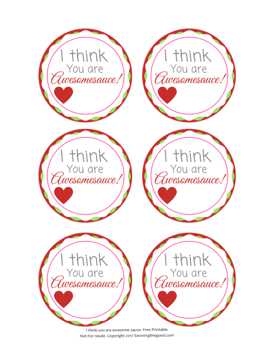 Applesauce Cup Valentine's Day Free Printable Allergy