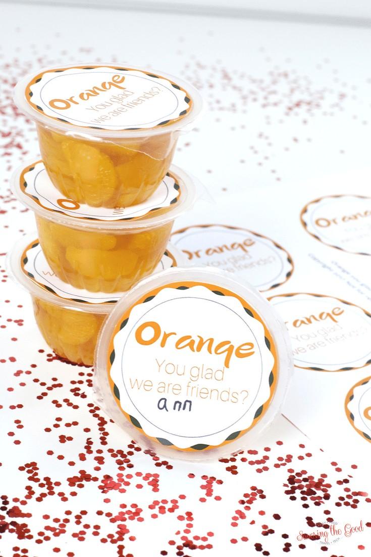 Mandarin Orange Cup Valentine Free Printable.