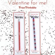 You Are Write For Me Classroom Valentine Printable