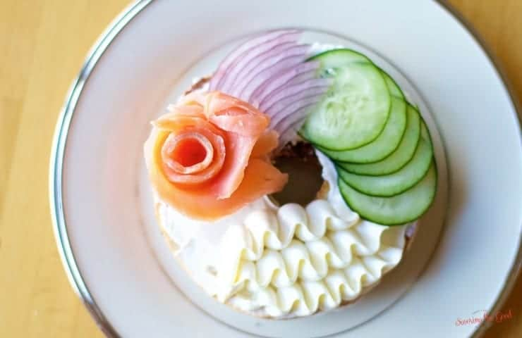 Easter Brunch Bagel and Cream Cheese With A Lox Rose