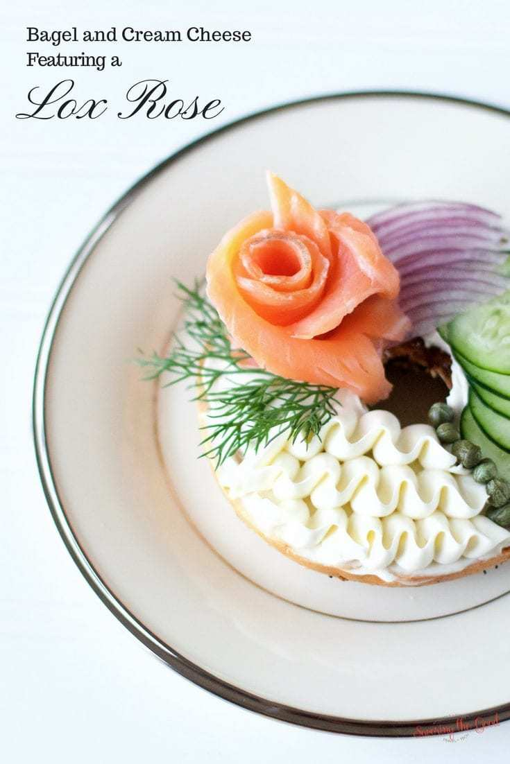 Easter Brunch Bagel and Cream Cheese With A Lox Rose. I feel so fancy when I enjoy this brunch treat. But what if we took this Sunday favorite and made them a bit more beautiful. What if we rolled the lox into a rose? How fancy would we feel then? Fancy enough to serve at Easter Brunch? I think so.