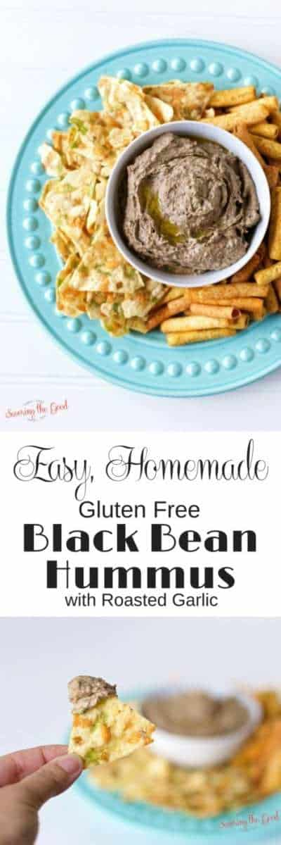Easy Homemade Gluten Free Black Bean Hummus with Roasted Garlic Recipe If you are gluten free or lover of gluten, you are going to eat up this easy homemade black bean hummus recipe. I rounded out the flavor profile with a couple cloves of roasted garlic. The beautiful thing about this recipe is that it can be made in less than 5 minutes in the food processor. I dare you not to eat the whole batch on one sitting.