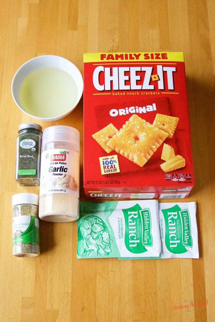 homemade seasoned ranch cheese crackers ingredients on a wooden table