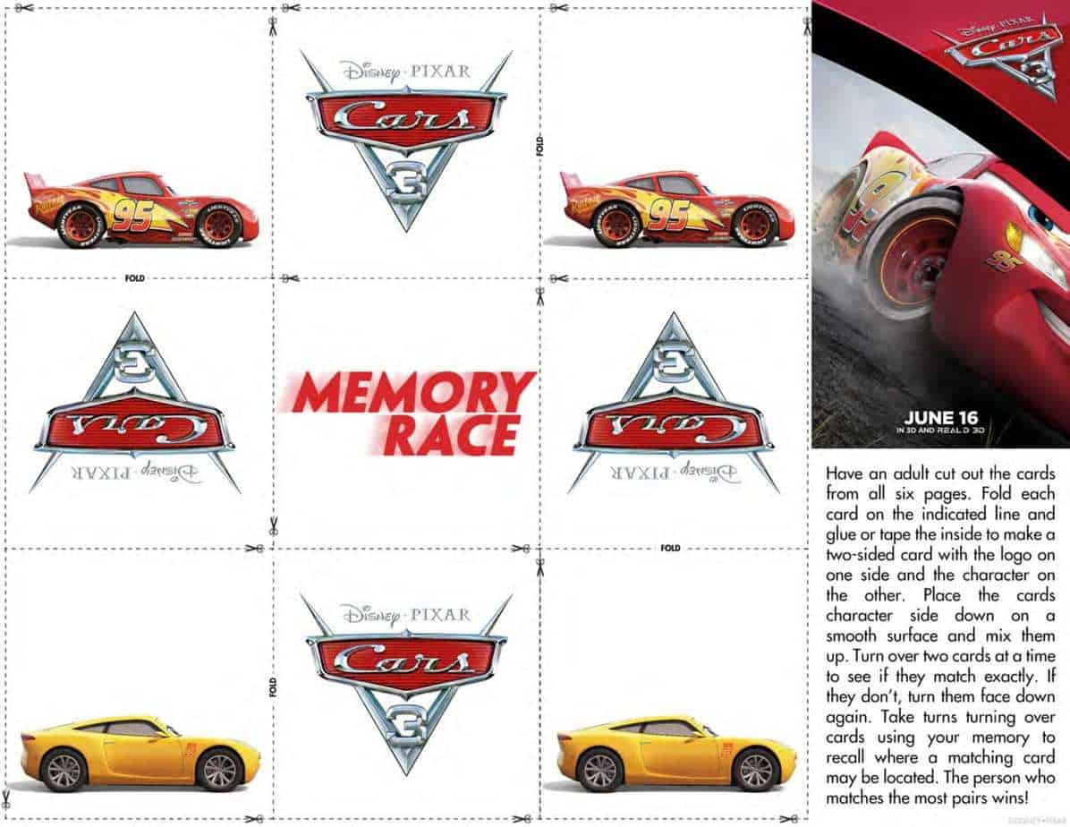 Cars 3 Official Trailer Printable Activity Pages