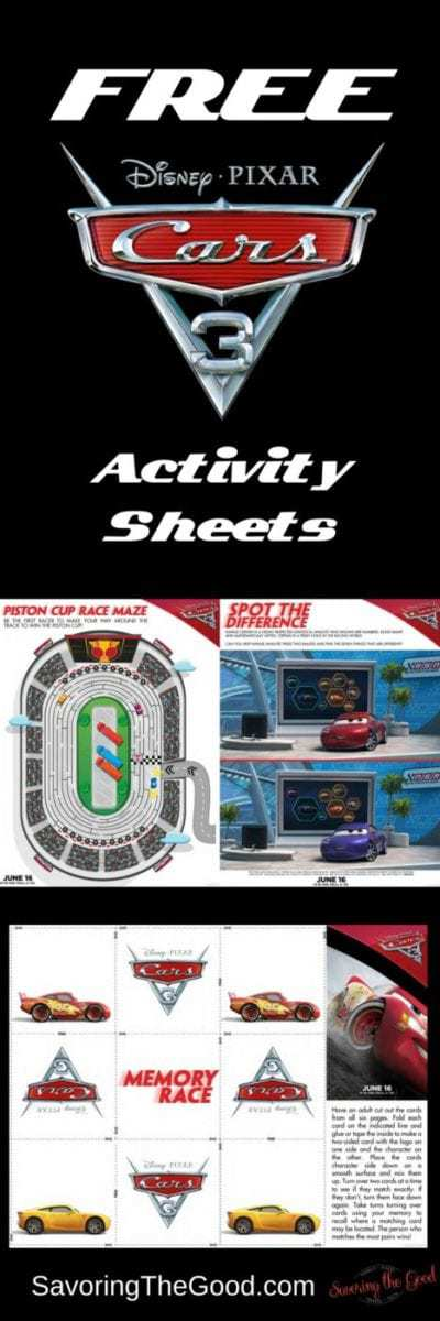 Cars 3 Printable Activity Pages