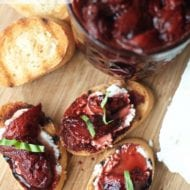 Balsamic Roasted Strawberries on Goat Cheese Crostini