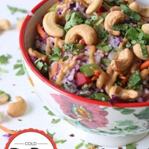Cold Thai Rice Salad with Spicy Peanut Sauce and Cashews