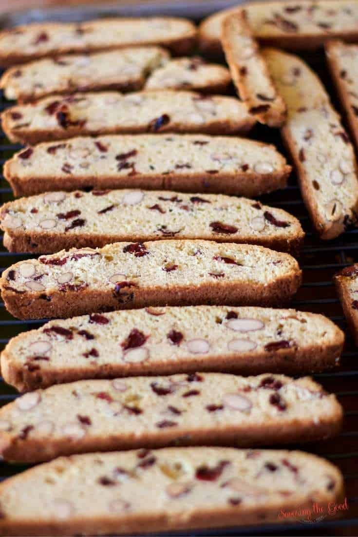 Almond Biscotti Recipe with cranberries on a cookie sheet