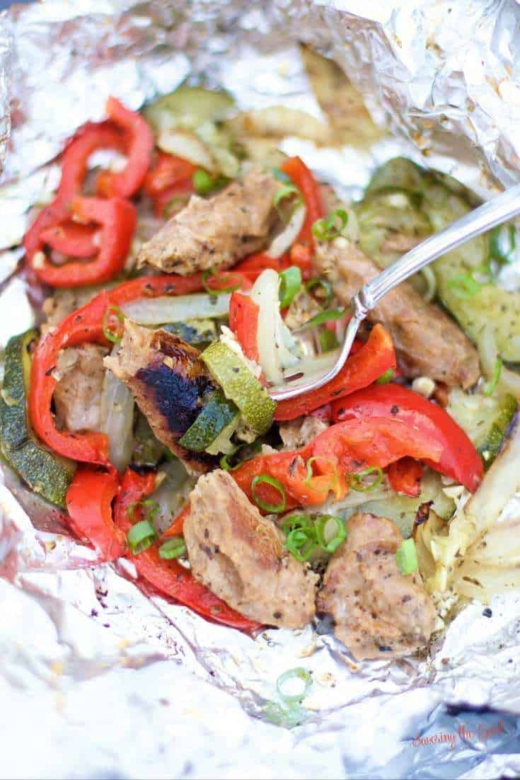 Easy Grilled Turkey Sausage and Vegetable Foil Packets