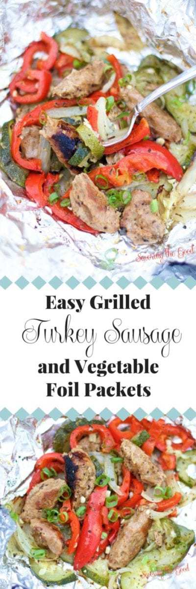 Perfect for summertime grilling my recipe for easy grilled turkey sausage vegetable foil packets are easy to assemble, full of delicious flavors and clean up is done in a snap! Assemble ahead of time and keep in a cooler for an easy make ahead meal for camping to tailgating.