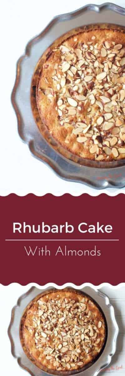 Tired of strawberry rhubarb pie? Try my recipe for rhubarb cake with almonds. It is easy, moist and delicious. Cut a slice and enjoy with with a cup coffee and a friend!
