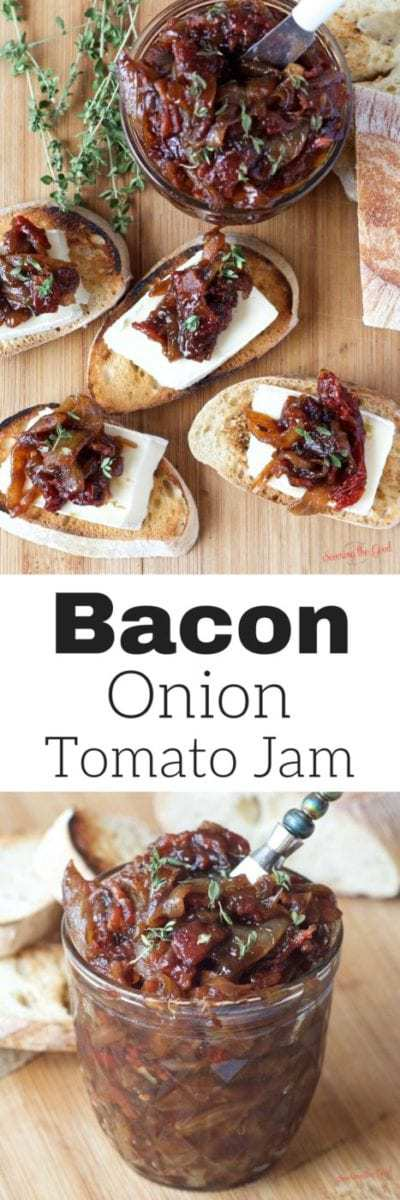 Bacon onion tomato jam is the perfect addition to any charcuterie board. This recipe is the perfect combination of sweet and savory. A hint of thyme balances out the trio of flavors. A staple for your refrigerator or a lovely gift to give as a hostess gift or to friends and family at the holidays.