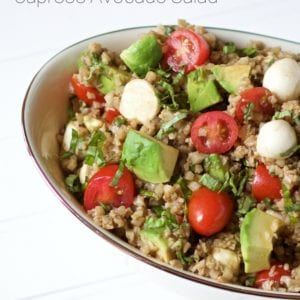 A delicious way to enjoy cauliflower rice is in this super simple cauliflower rice caprese avocado salad. This side dish is full of the traditional caprese flavors but you are getting an extra serving of vegetables thanks to the cauliflower rice.