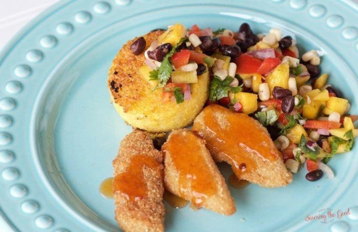 Crispy Fish Tenders With Polenta Cake And Black Bean Mango Salsa