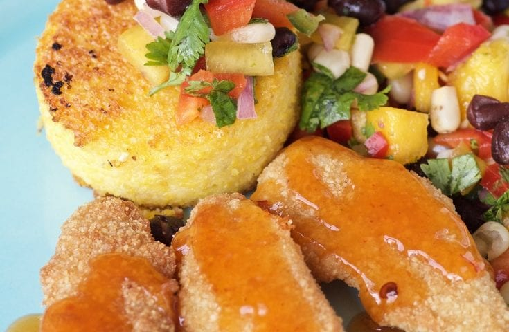 Crispy Fish Tenders With Polenta Cake And Black Bean Mango Salsa