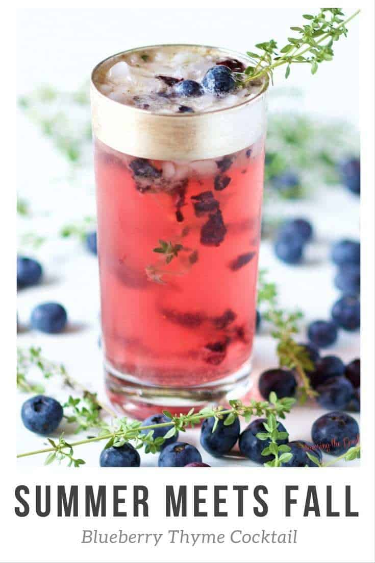 When you are in the season where summer meets fall and you want a cocktail you make this fresh, hand crafted blueberry thyme cocktail. Bright, fresh flavors of blueberry with a hint of the aromatic thyme. This cocktail is sweetened with honey to balance out the flavor profile.