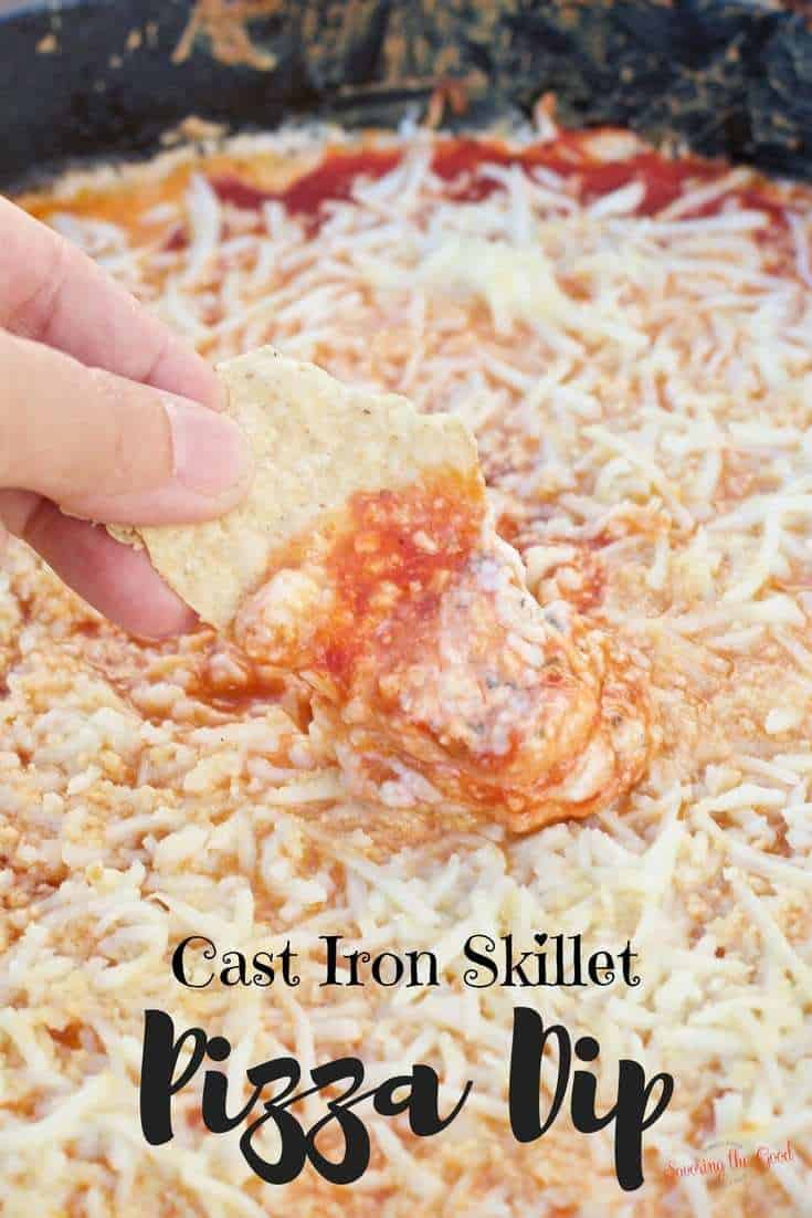 Cast iron grilled pizza dip recipe.