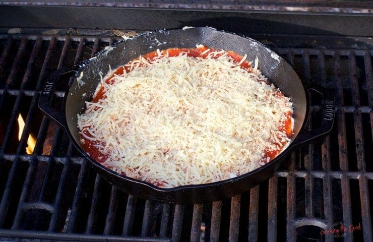 Cast Iron Grilled Pizza Dip Recipe on the grill in a cast iron pan