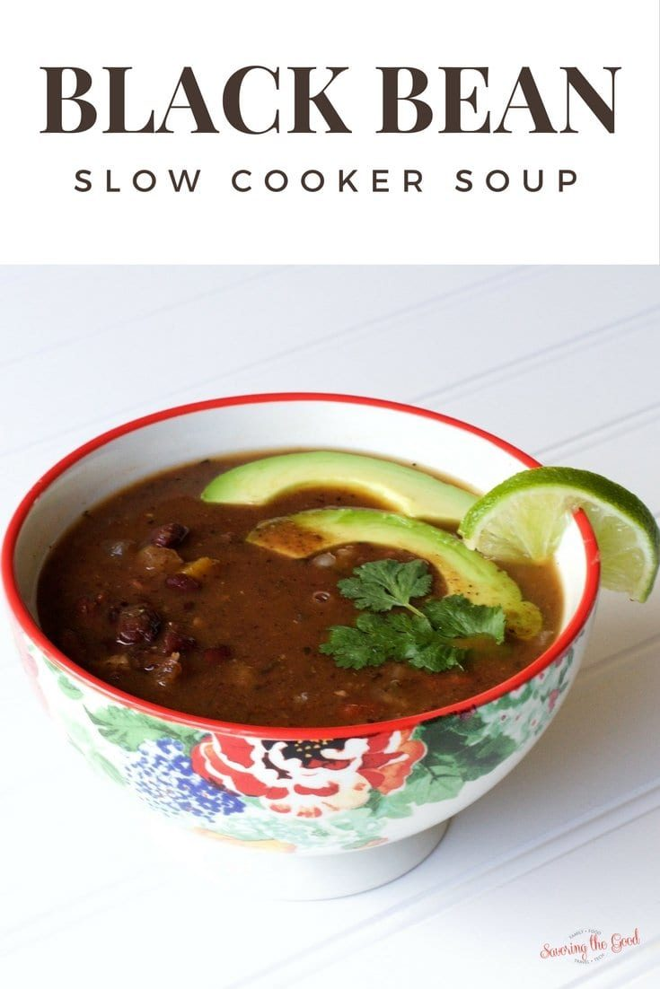 Make this super easy recipe in your crock pot. Slow cooker black bean soup is packed with protein and full of flavor. This delicious soup is vegan, vegetarian and gluten free.